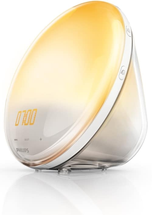 philips wake up light alarm clock hf352001 close up view from side 2