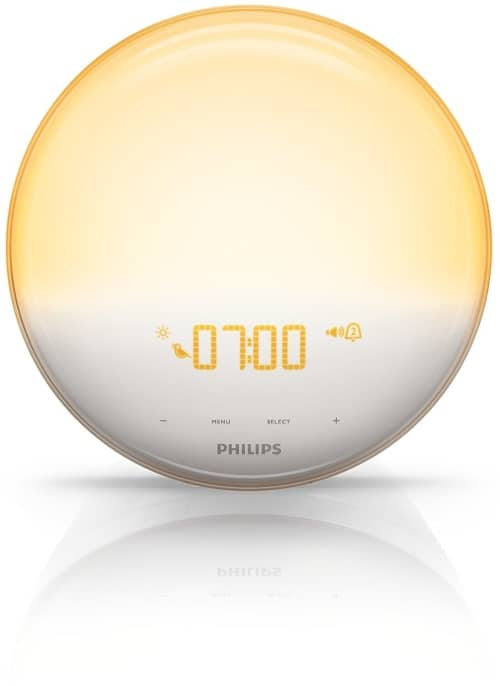 philips wake up light alarm clock hf352001 close up view from front 2