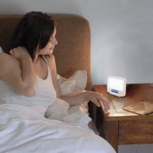 lumie zest wake up sunrise light and sad lamp bedside