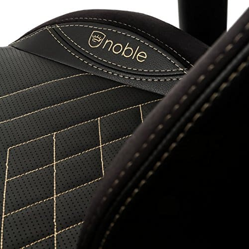 noblechairs epic gaming chair black with gold stitching vegan pu leather option