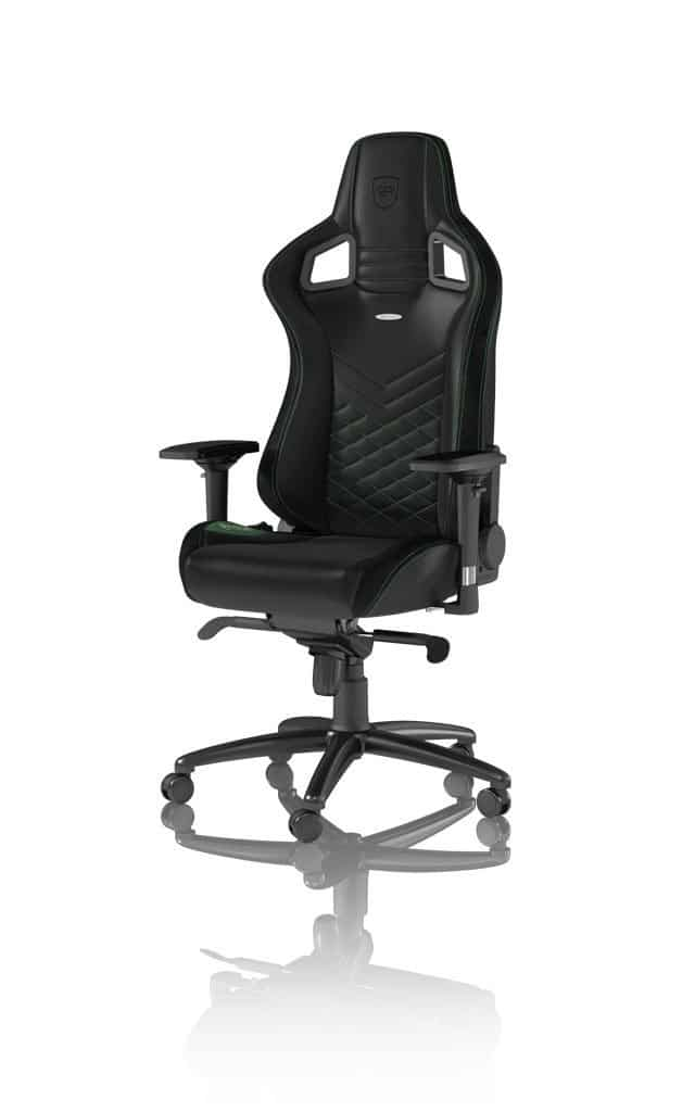 noblechairs epic gaming chair black with green stitching main view vegan pu leather option
