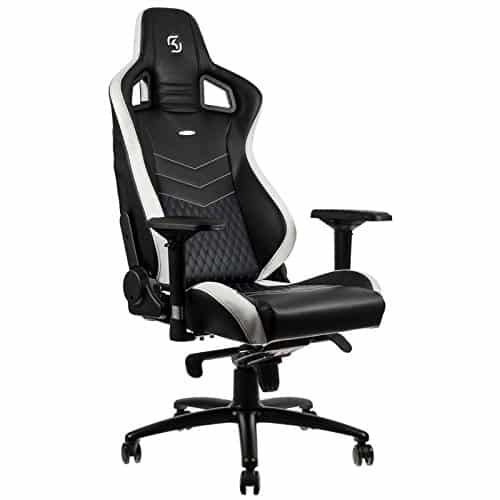 noblechairs epic gaming chair black with white main view vegan pu leather option
