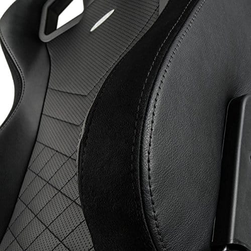noblechairs epic gaming chair pure black stitching close up 2 vegan pu leather option