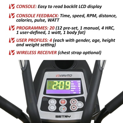 Viavito Setry 2-in-1 Elliptical Trainer and Exercise Bike black and red computer features