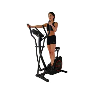 Viavito Setry 2-in-1 Elliptical Trainer and Exercise Bike black and red in use standing view