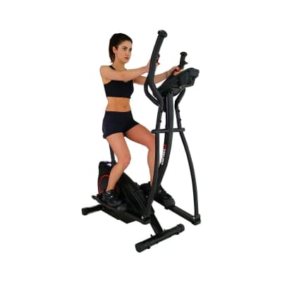 Viavito Setry 2-in-1 Elliptical Trainer and Exercise Bike black and red seated