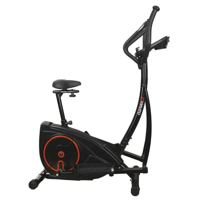 Viavito Setry 2-in-1 Elliptical Trainer and Exercise Bike black and red side view