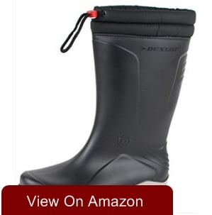 Dunlop Blizzard Warm Black Fleece Lined Padded Collar Wellington Boots