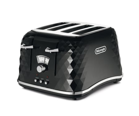 De Longhi CTJ4003 BK Brillante Faceted 4 Slice Toaster MAIN VIEW