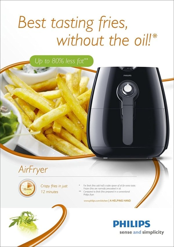 philips hd9220/20 healthier oil free airfryer cooks without oil