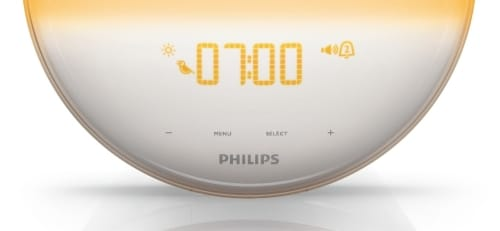 philips wake up light alarm clock hf352001 close up view from front