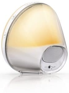 philips wake up light alarm clock hf352001 close up view from rear