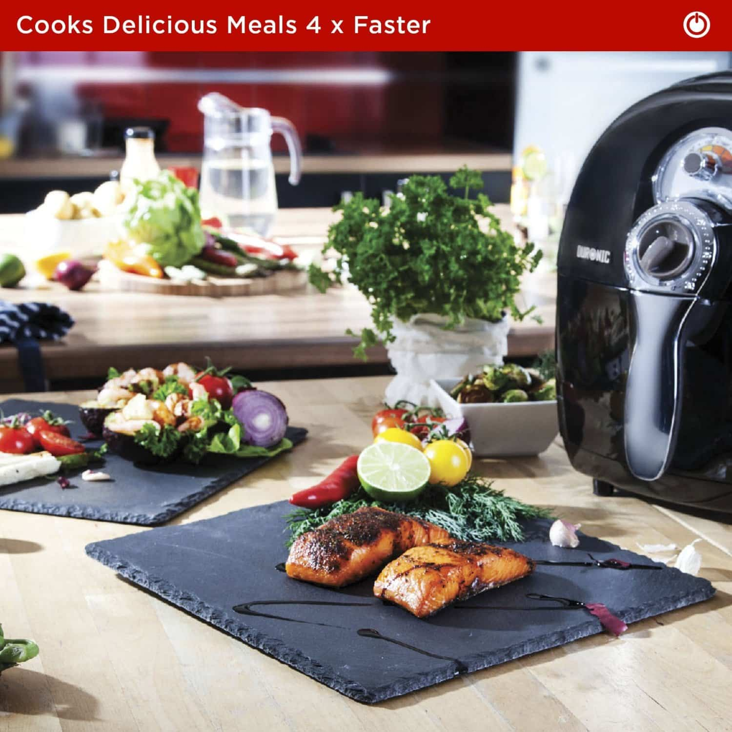The duronic af1 air fryer cooks food 4 times quicker