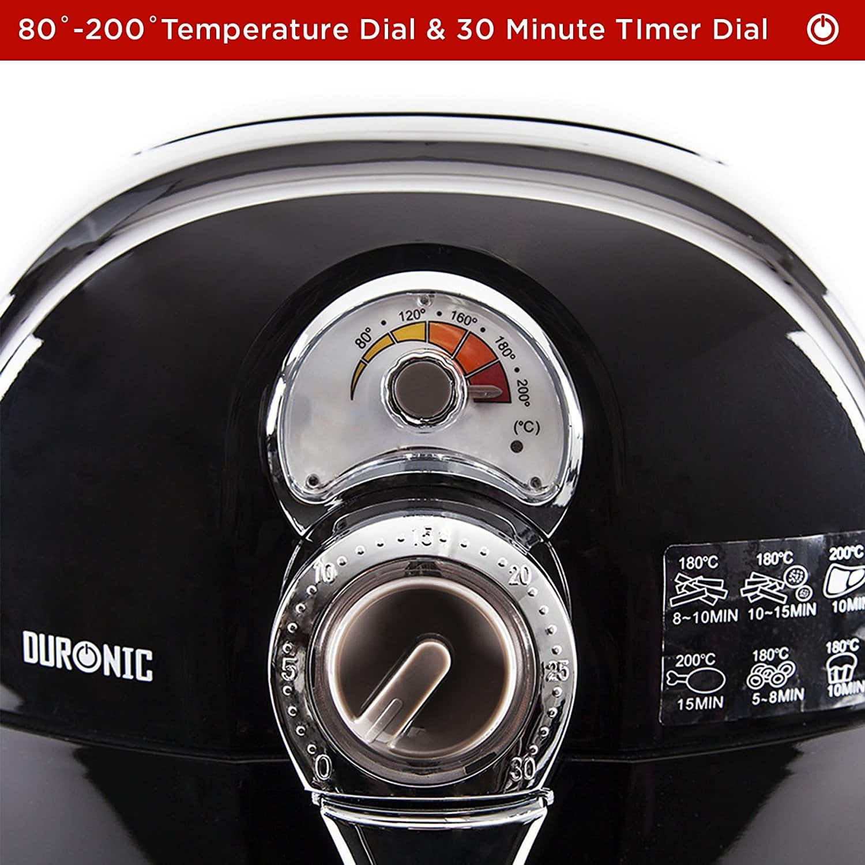 duronic af1 air fryer dials close up