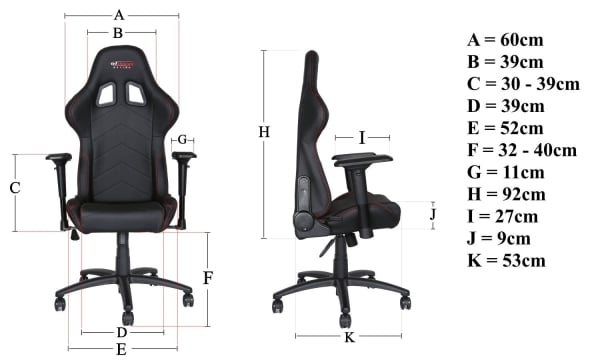 gt omega pro OC-F0013 gaming office chair dimensions
