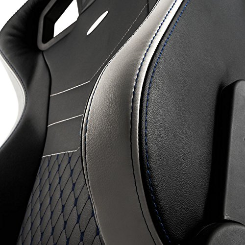 noblechairs epic gaming chair black with white stitching close up 2 vegan pu leather option