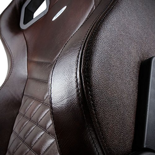 noblechairs epic gaming chair brown and black real leather close up 2