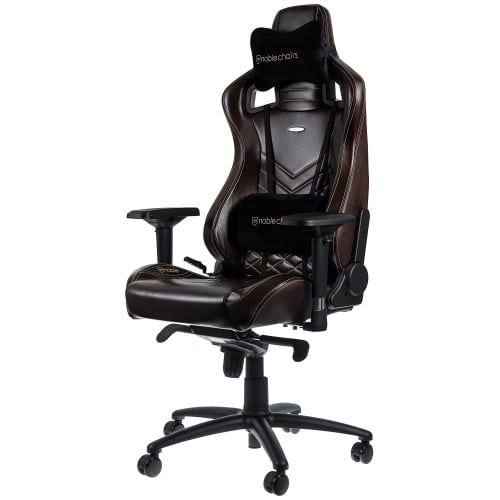 noblechairs epic main view with lumbar support and head cushion image