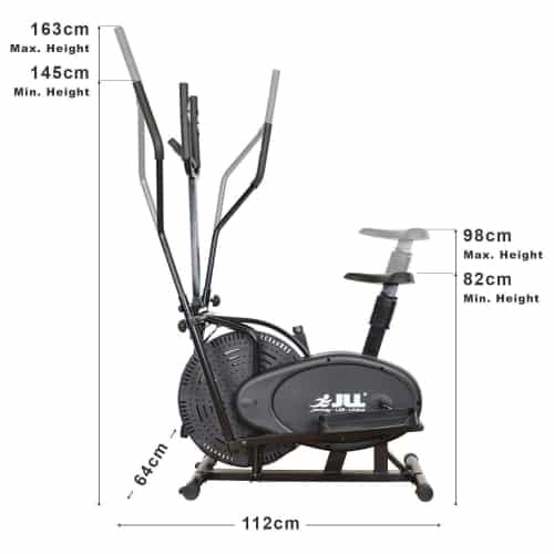 JLL CT100 2 in 1 elliptical cross body trainer front view dimensions