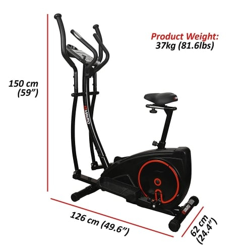 Viavito Setry 2-in-1 Elliptical Trainer and Exercise Bike black and red dimensions
