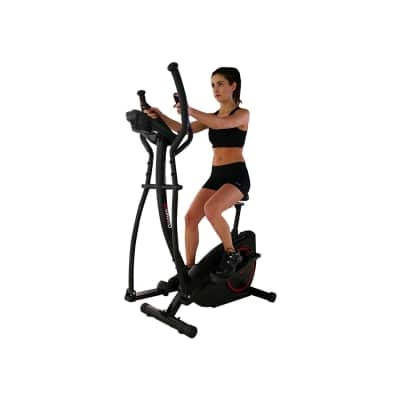 Viavito Setry 2-in-1 Elliptical Trainer and Exercise Bike black and red in use seated front view