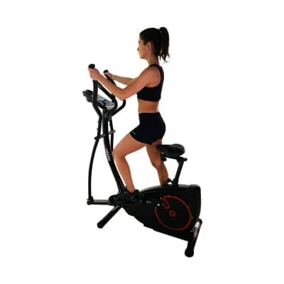 Viavito Setry 2-in-1 Elliptical Trainer and Exercise Bike black and red in use side view