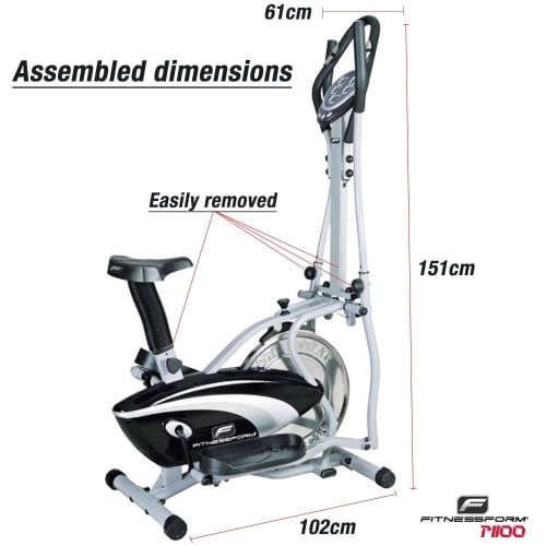 fitnessform p1100 cross trainer dimensions