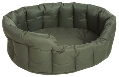P & L Superior Pet Beds Heavy Duty Oval Waterproof Softee Bed, Large, 76 x 64 x 24 cm, Green