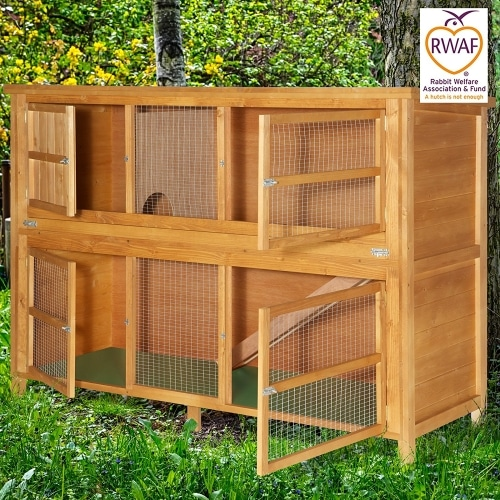 6ft Chartwell Double Luxury Rabbit Hutch doors open