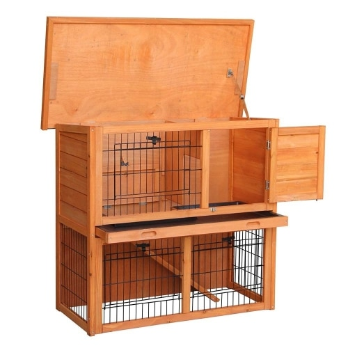 BTM 2 Tier Double Decker Rabbit Guinea Pig hutch front slide tray