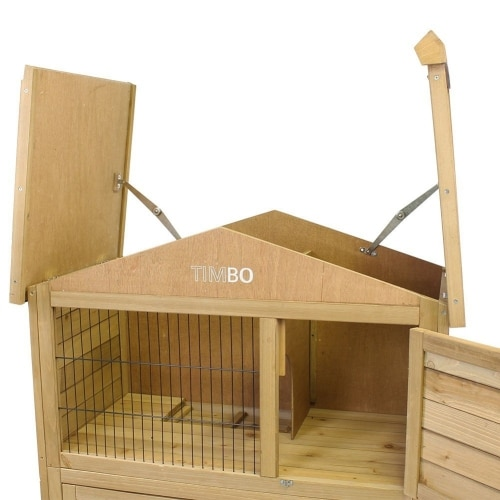 TIMBO rabbit guinea pig hutch top open