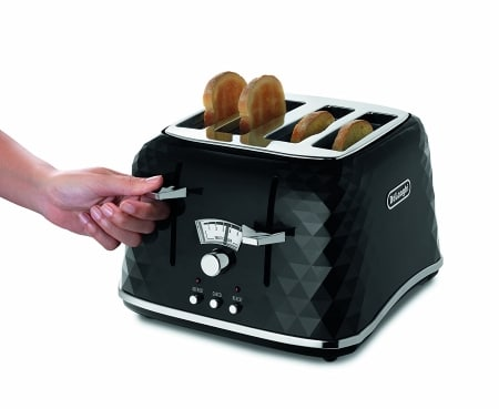 De Longhi CTJ4003 BK Brillante Faceted 4 Slice Toaster TOAST LOWERING