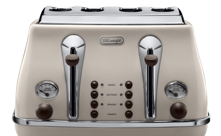 DeLonghi CTOV4003 BG Vintage Icona 4 Slice Toaster close up view