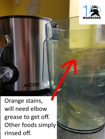 Oranges stained the jug