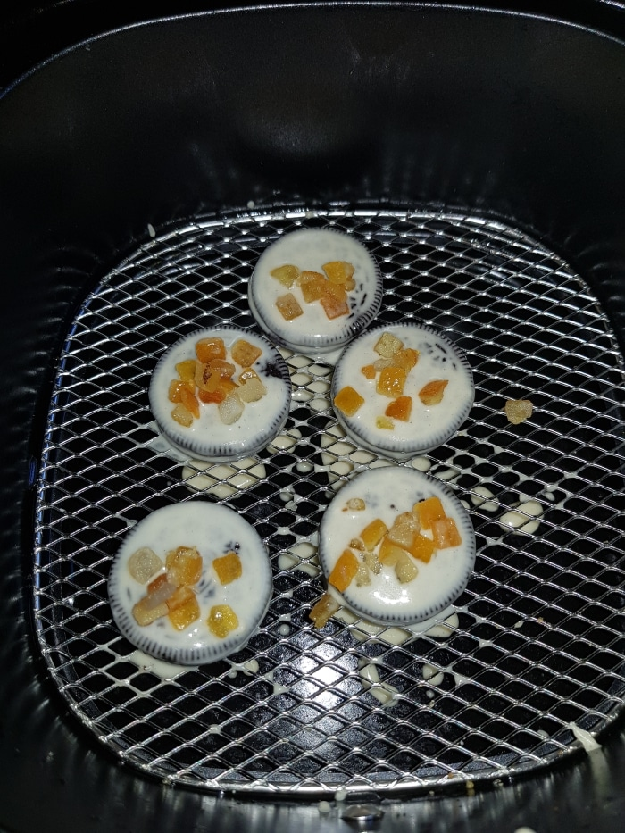 air fryer oreo cookie with orange twist ready to cook